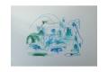 Zeichnung I in Blau